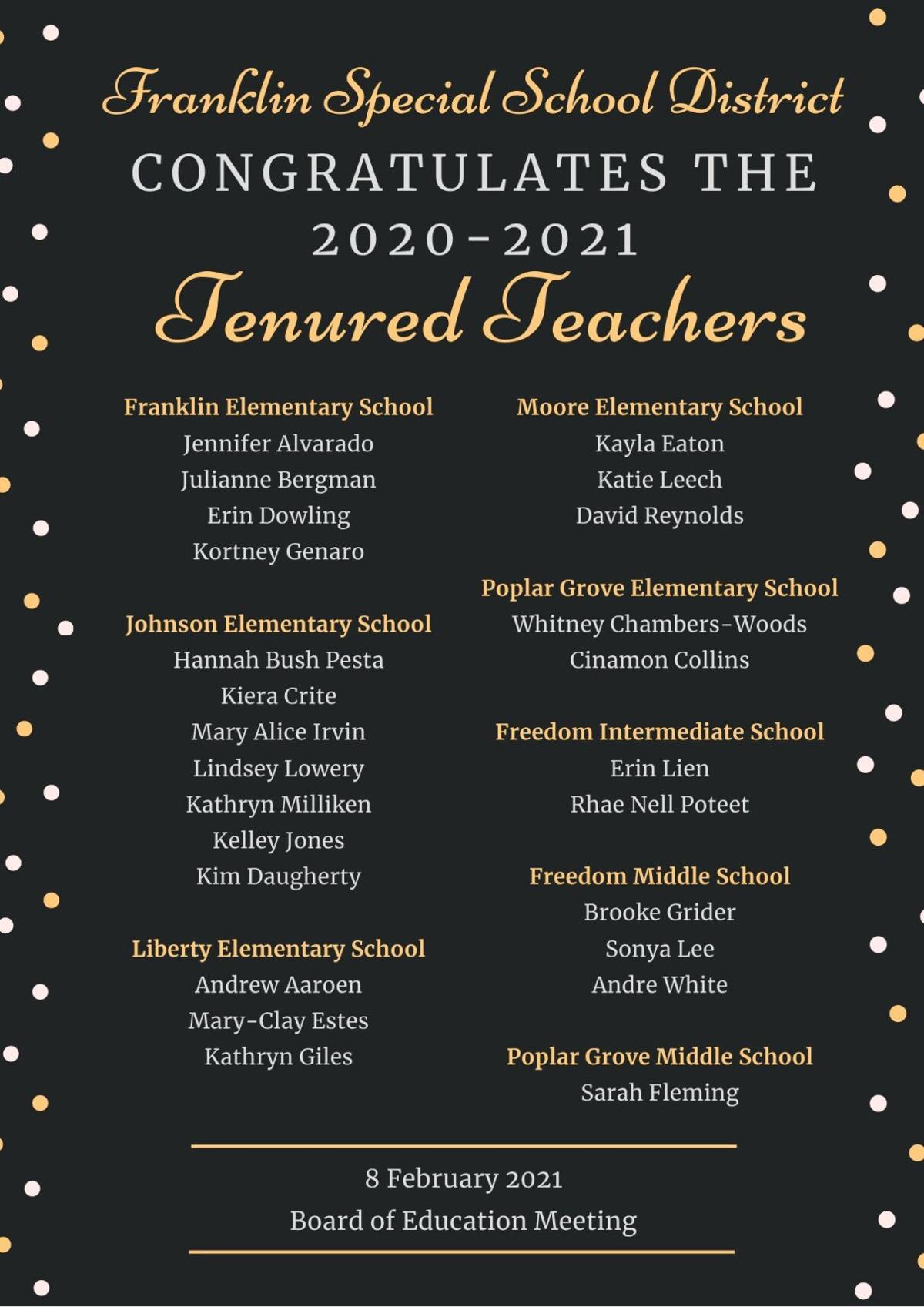 FSSD tenured teachers 2021