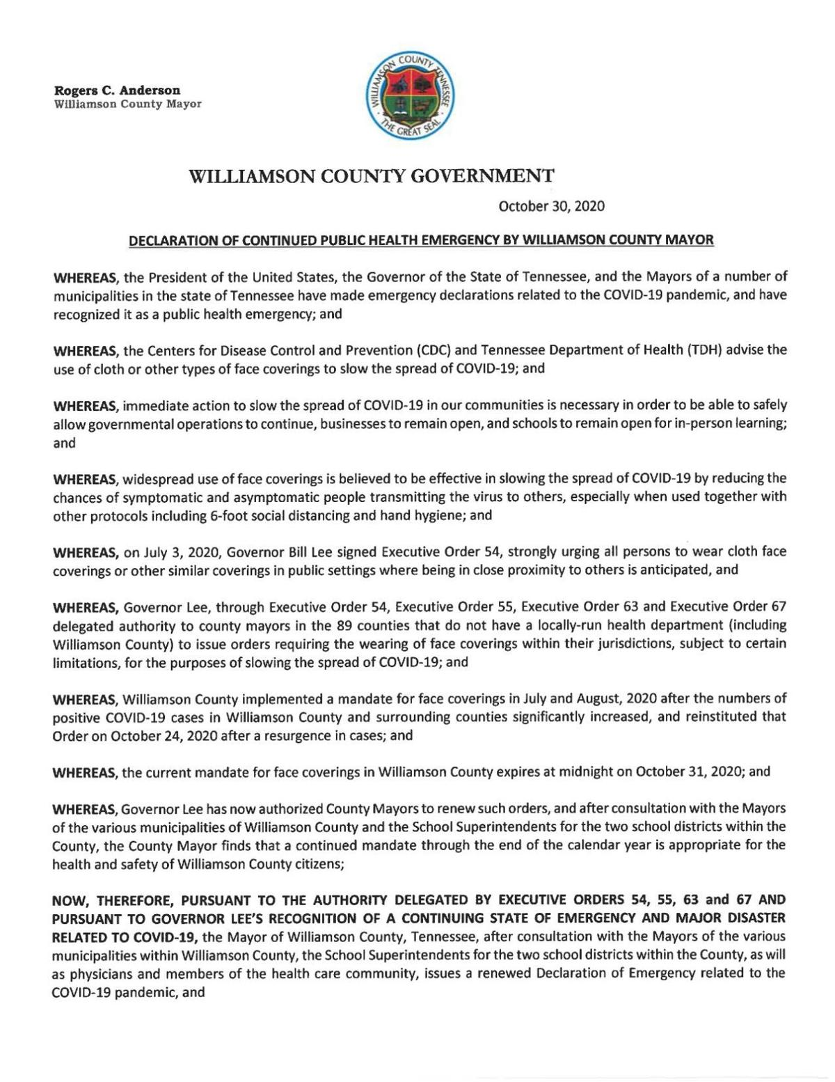 Williamson County Declaration Oct. 30, 2020