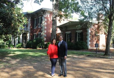 Bari Beasley and Matt Largen stand on the former O'More campus, now owned by the Heritage Foundation