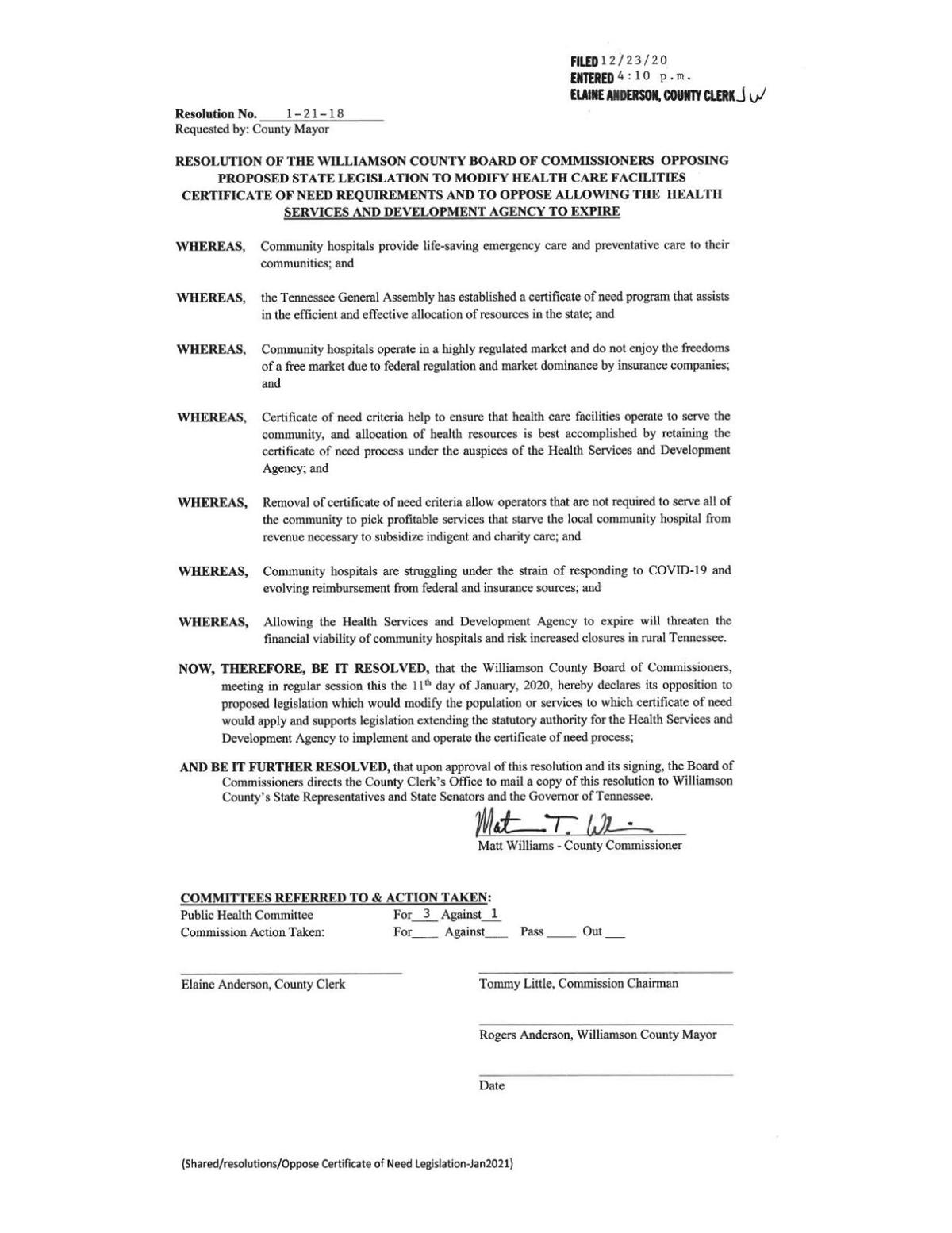County commission resolution 1-21-18