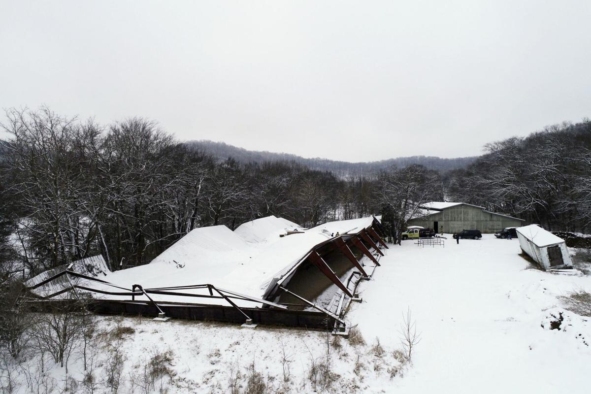 S Berry's Chapel Rd barn collapse