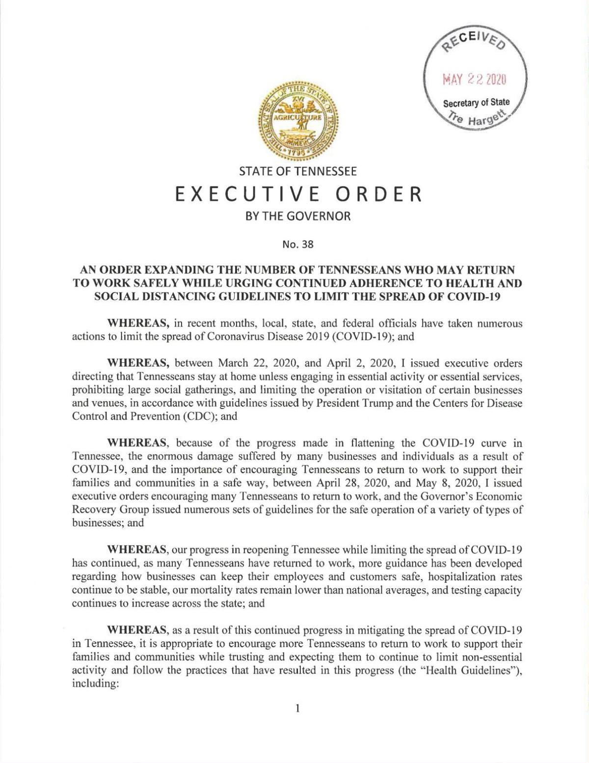 Gov. Bill Lee Executive Order 38