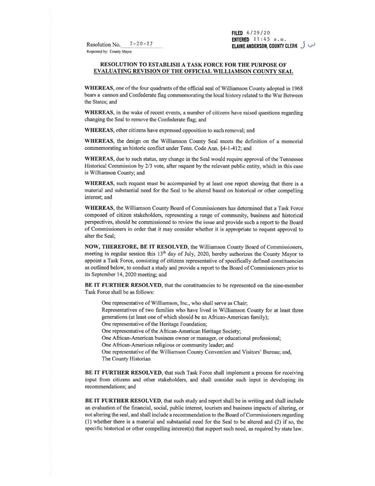 Williamson County Seal Task Force Resolution