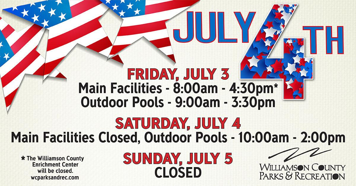 Parks and Recreation July Fourth schedule