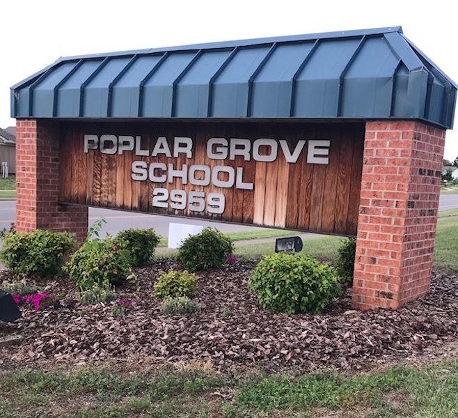 Poplar Grove School sign