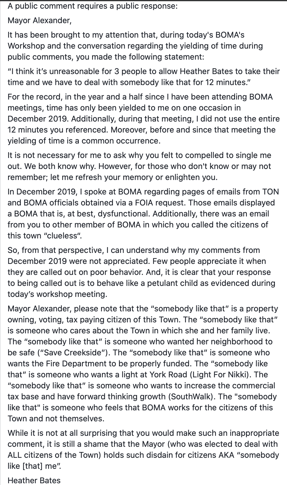 Screenshot Heather Bates Nolensville open letter Mayor Alexander