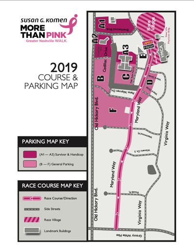 2019 Komen Greater Nashville More Than Pink Walk map