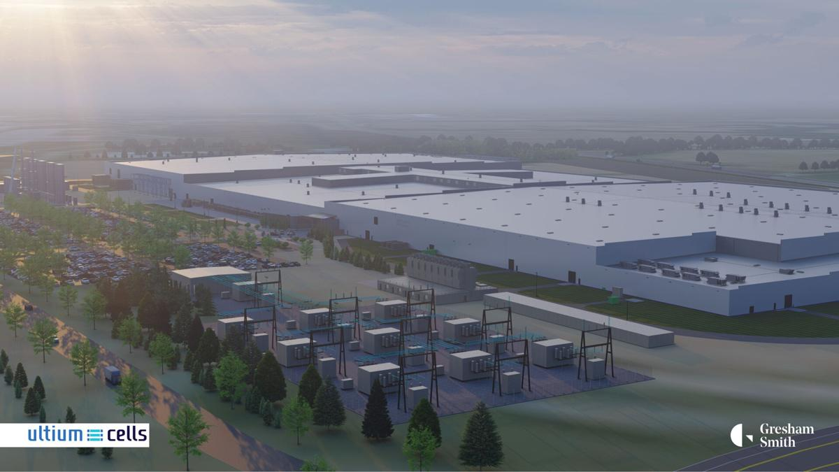 Early conceptual rendering of Ultium Cells LLC battery cell manufacturing facility in Spring Hill, Tennessee. Construction on the approximately 2.8 million-square-foot facility will begin immediately, and it is scheduled to open in late 2023. Actual facility may not be constructed as shown.