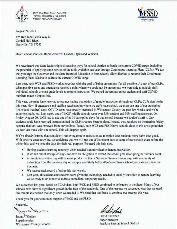 WCS FSSD ltr to legislators