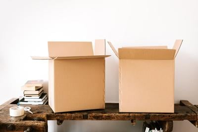 moving boxes stock