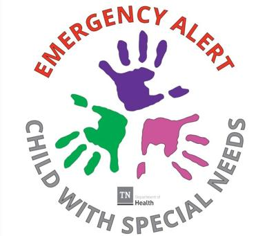 Tennessee Department of Health Emergency Alert Child With Special Needs logo