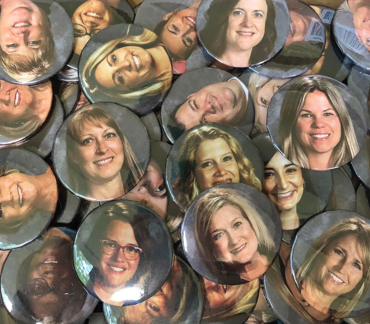 Williamson County Schools teacher buttons COVID-19 face masks