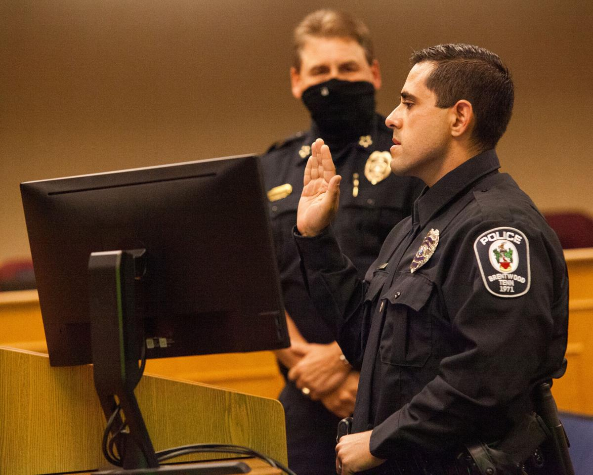 Police Officer Ray Ulibarri swearing in Brentwood