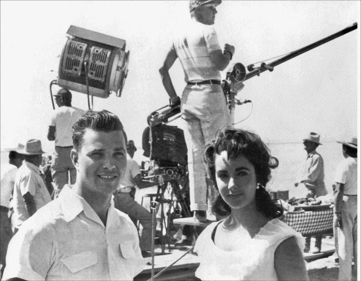 Don Russell and Elizabeth Taylor on the set of 'Giant' near Marfa, Texas. Photo courtesy of Don Russell..jpg