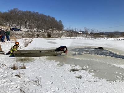 Cow rescue frozen lakes 02202021