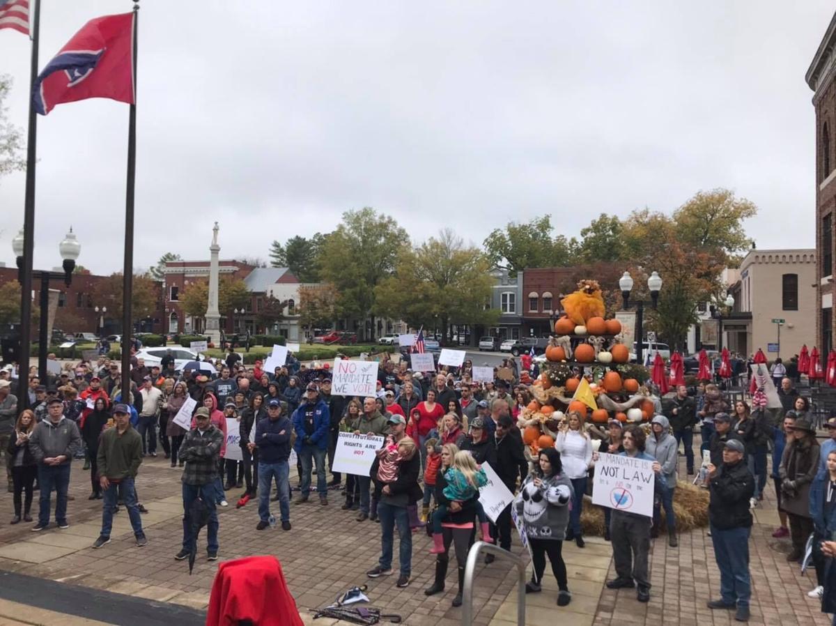 Tennessee Stands Franklin mask mandate protest 10242020
