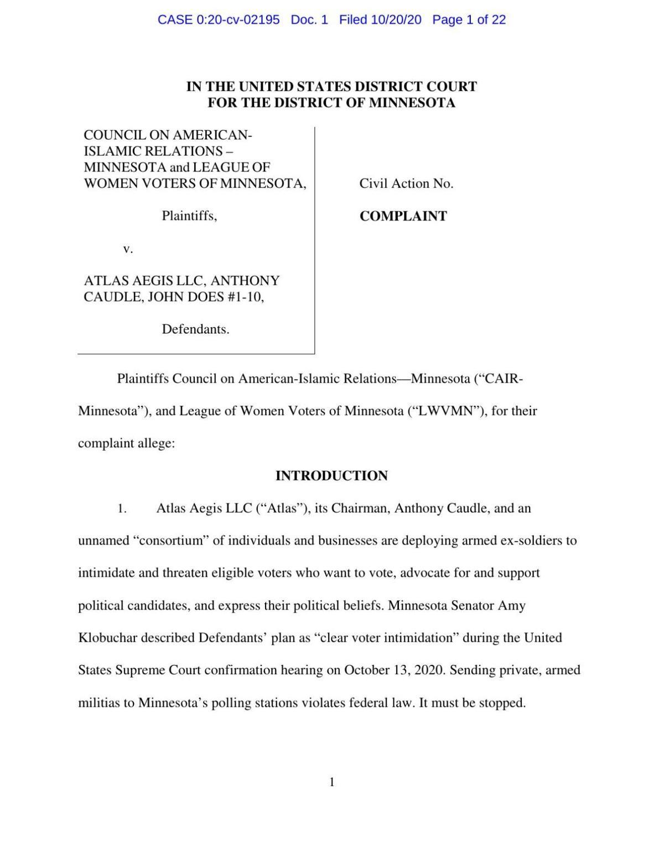 Atlas Aegis Federal Lawsuit 2020 Election