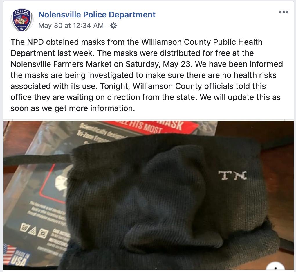 Nolensville Police Department COVID-19 masks