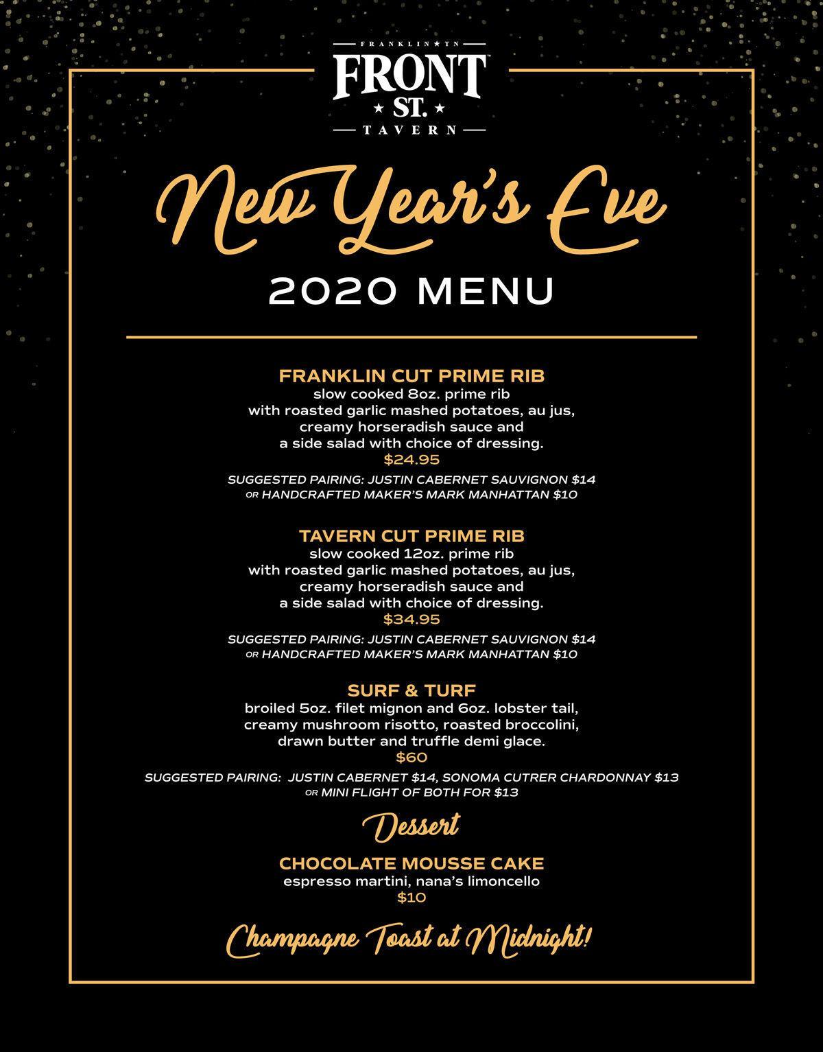 Front Street Tavern NYE menu