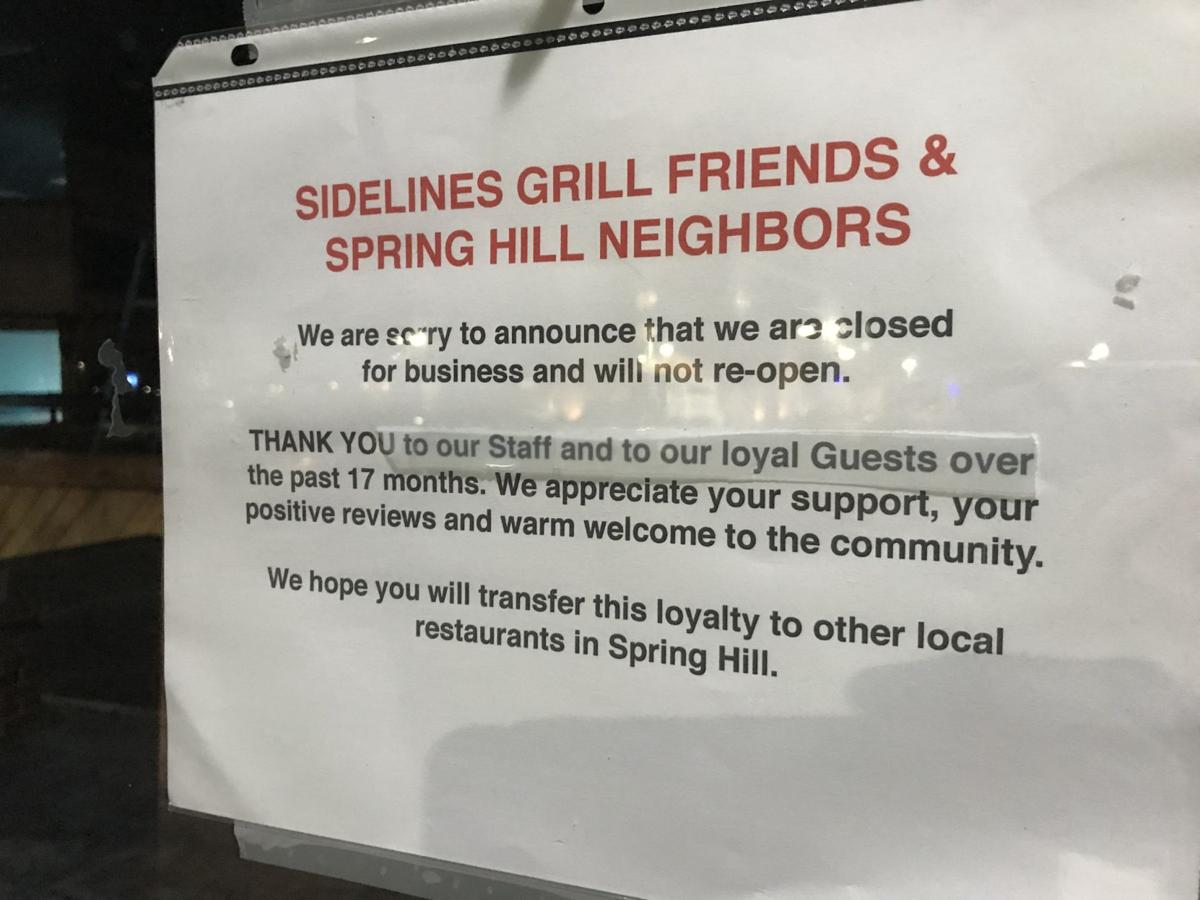 Sidelines Grill closing sign