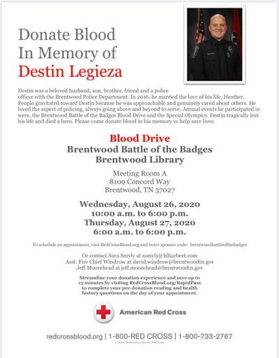 Battle of the Badges Blood Drive August 2020 Destin Legieza