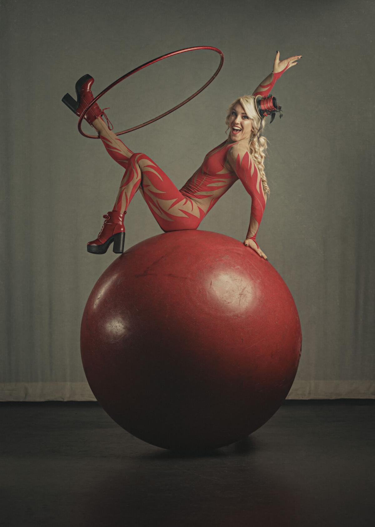Grace Good Action Shot with Hula Hoop & Big Red Ball-2.JPG