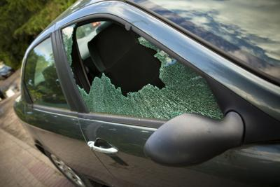 Smashed window in  car