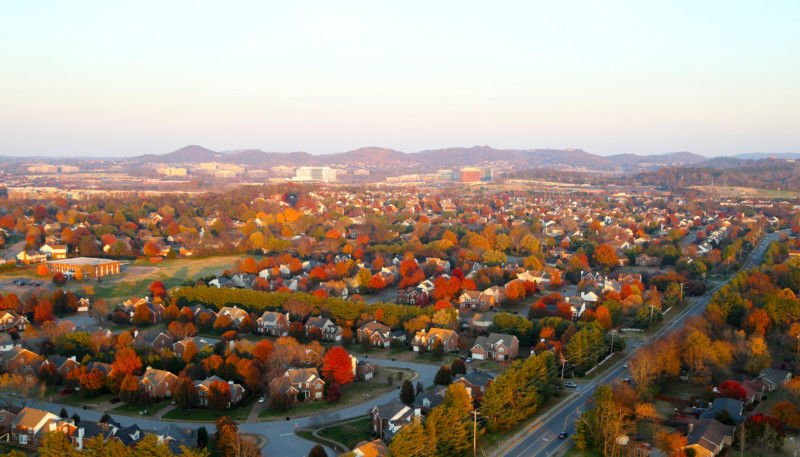Aerial view of Franklin, Tennessee in the fall. Photo courtesy Visit Franklin.