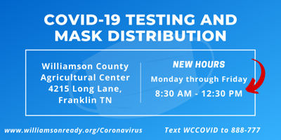 COVID-19 Williamson County Testing Hours Change