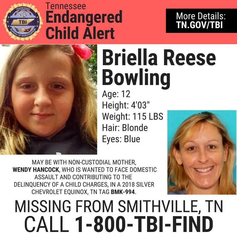 Briella Bowling Wendy Hancock endangered child TBI alert