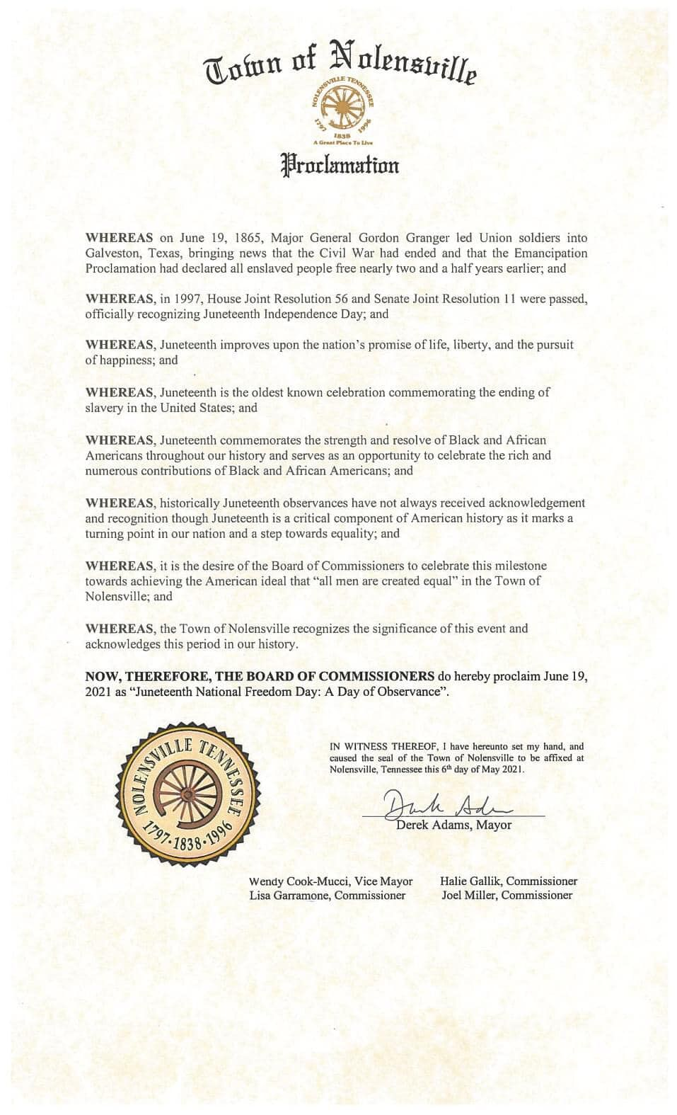 Nolensville 2021 Juneteenth proclamation