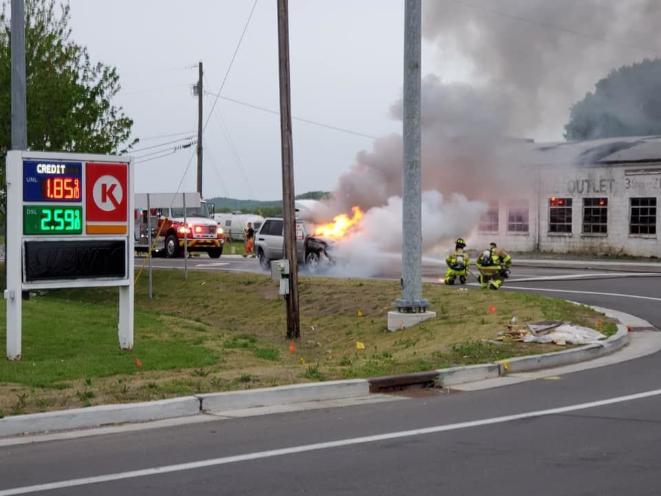 Circle K vehicle fire 1 Arrington Fire and Rescue