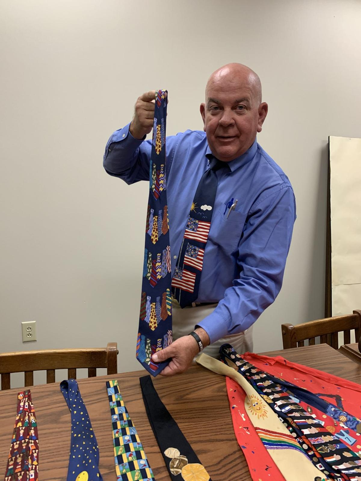 Juvenile Court Judge Barry Tatum displays some of his ties.