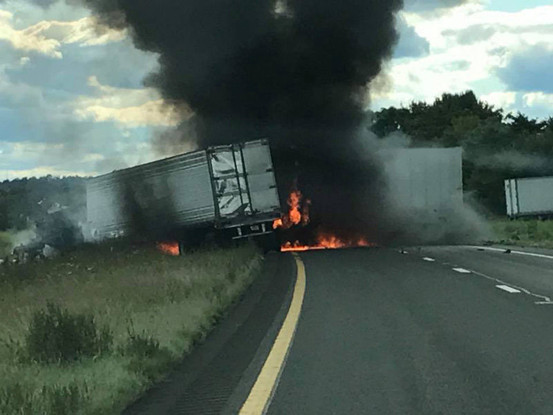 UPDATE: 2 tractor trailer drivers killed in fiery crash on I-81