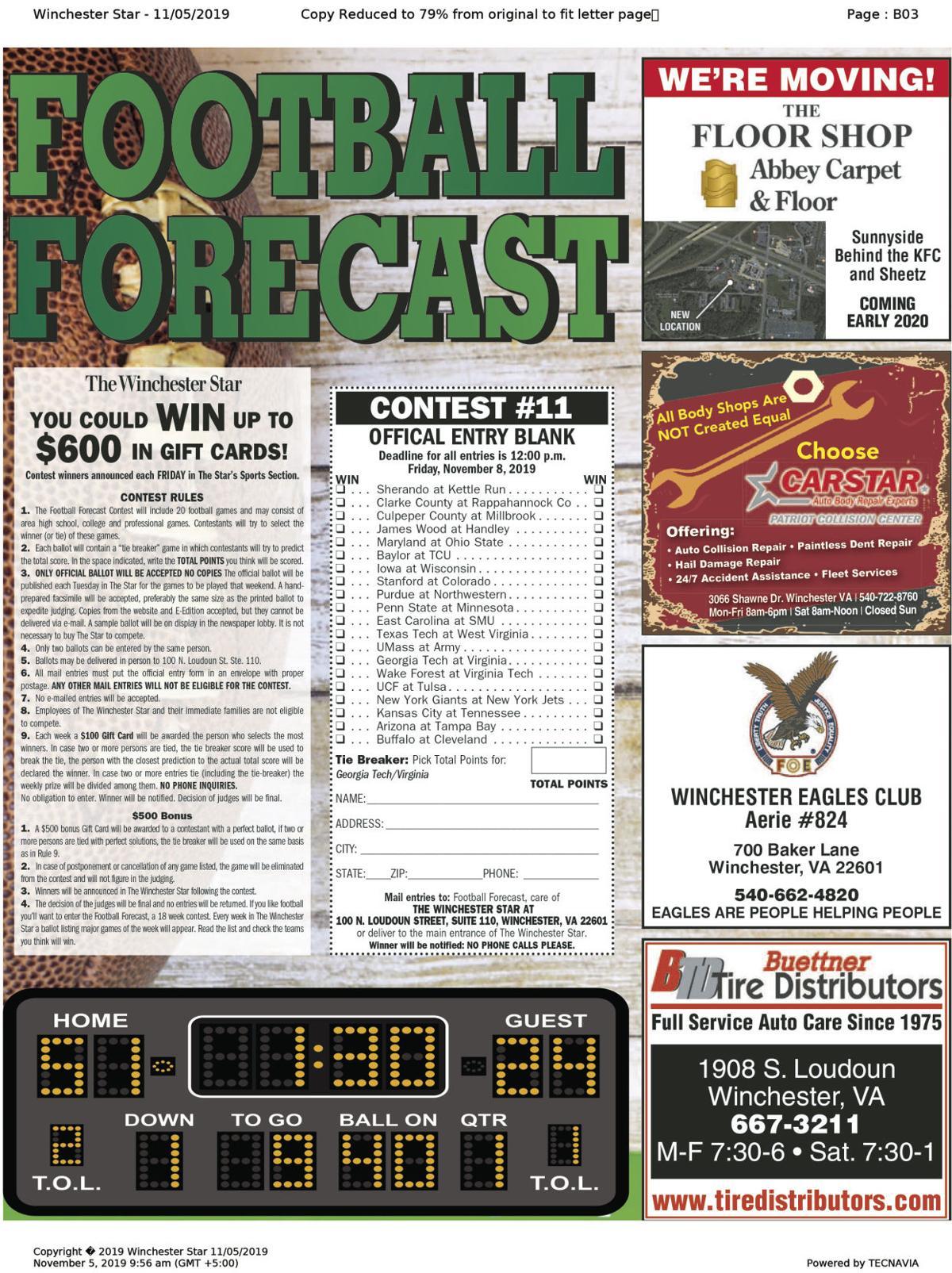 11-5 Football Forecast