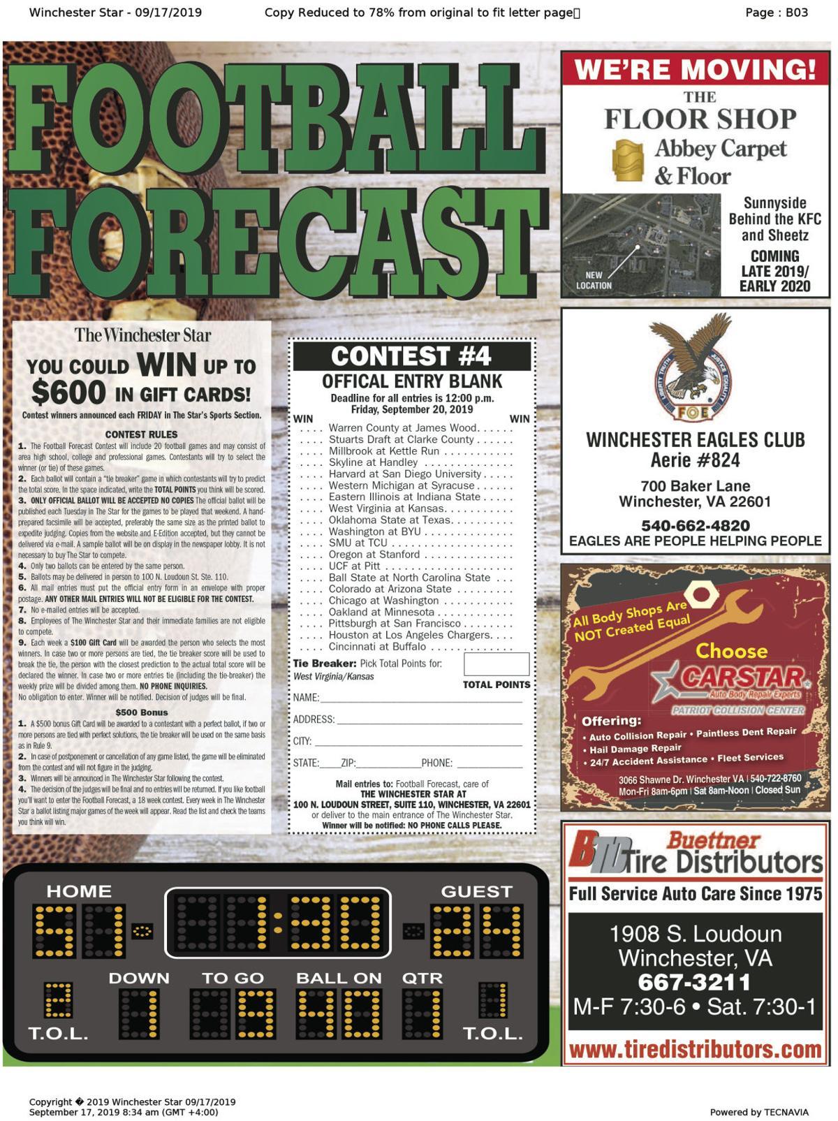 9-16 Football forecast