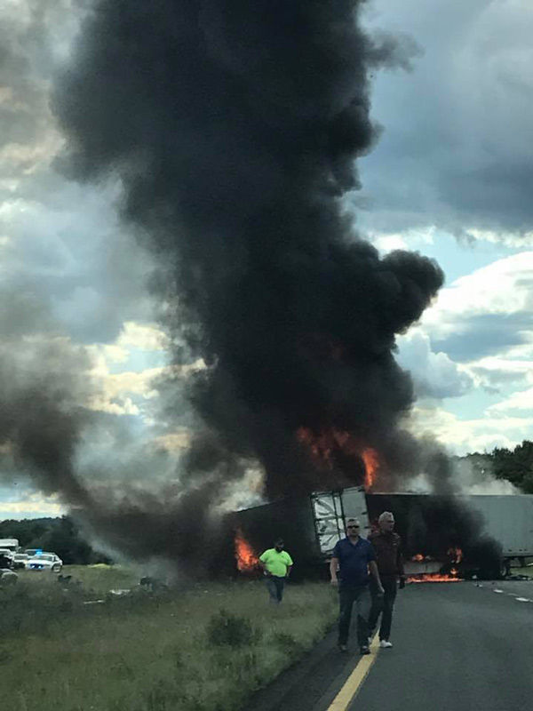 UPDATE: 2 tractor trailer drivers killed in fiery crash on I
