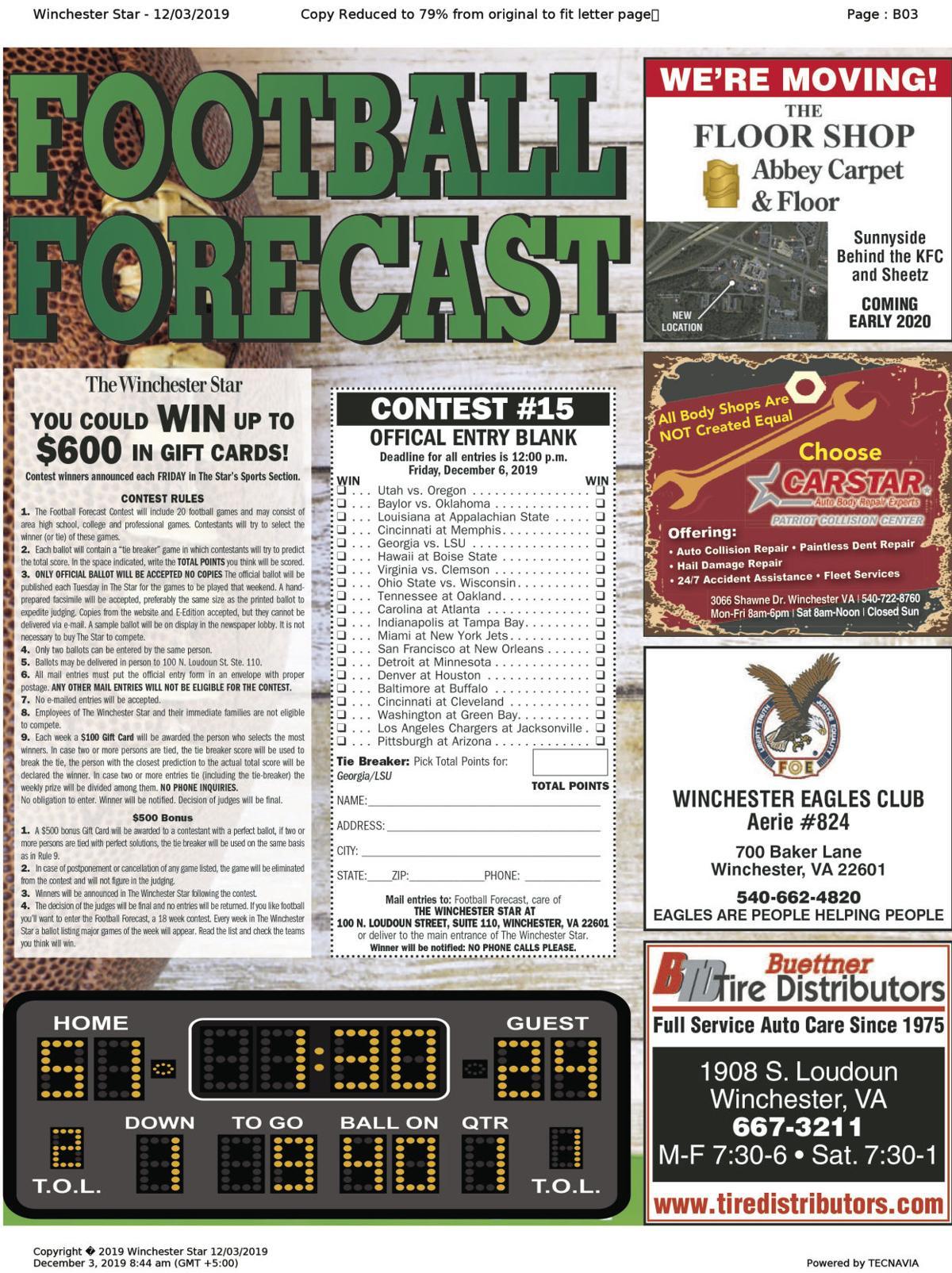 Football Forecast 12-3