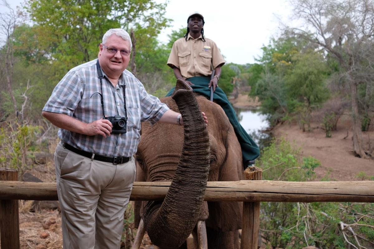 George Stone with elephant