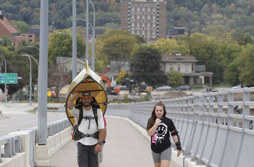 15-year-old Winonan Izabella Foss joined Evan Hansen as he crossed the Mississippi River in Winona. After losing four people close to him, Hansen portaged a canoe across Minnesota to raise awareness about suicide and depression.