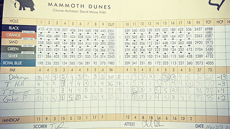 Charlie Delsman scorecard from 60 at Mammoth Dunes