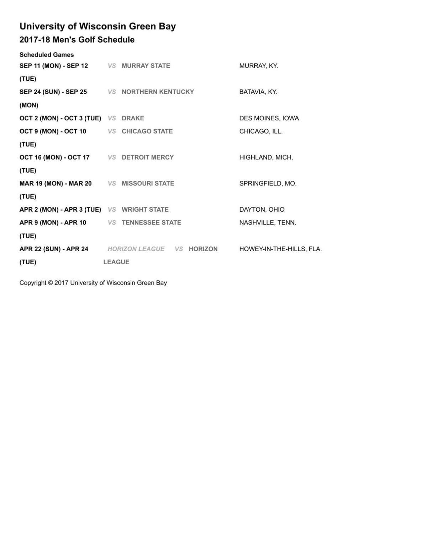 2017-18 UW-Green Bay men's golf schedule