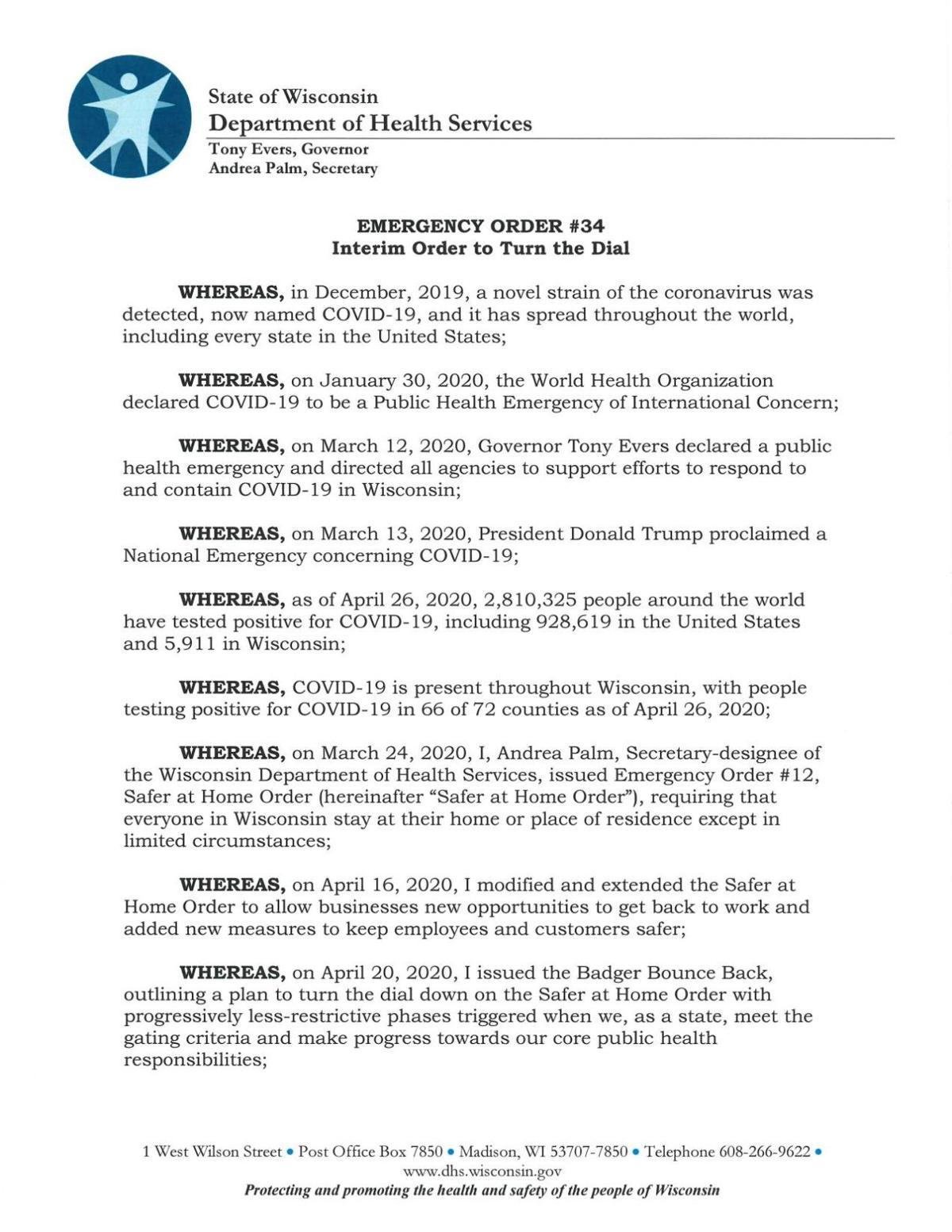 Gov. Evers Emergency Order, 4-27-20
