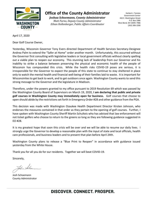 Washington County Administrator Josh Schoemann: Letter to Golf Courses