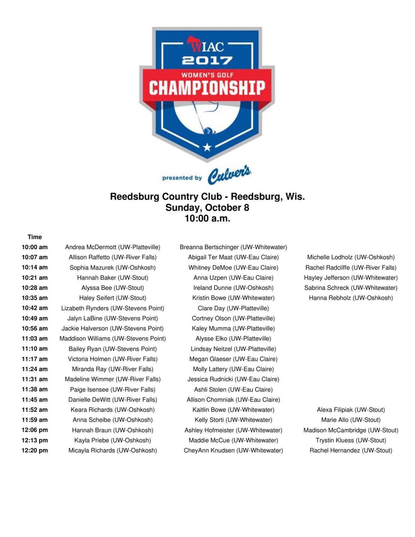 2017 WIAC Women's Golf Championship: Third-round tee times