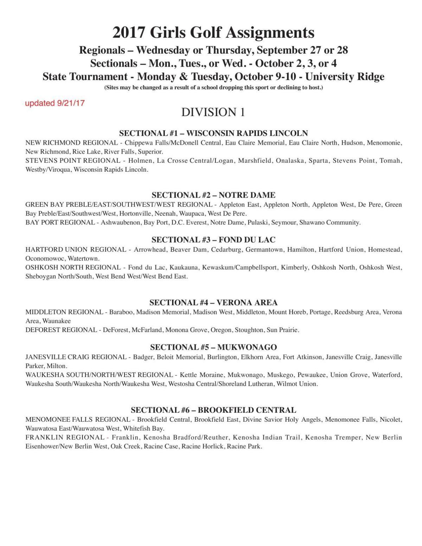 wiaa girls golf tournament 2017 division 1 regional preview hs