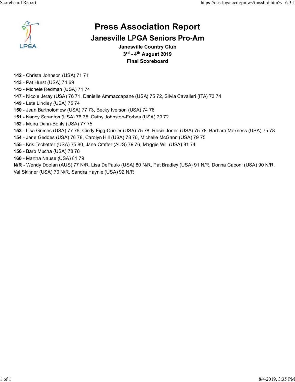 2019 Janesville LPGA Senior Pro-Am | Final results
