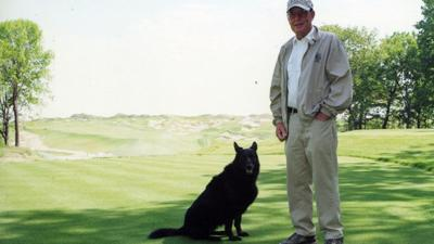 Pete Dye and dog Sixty