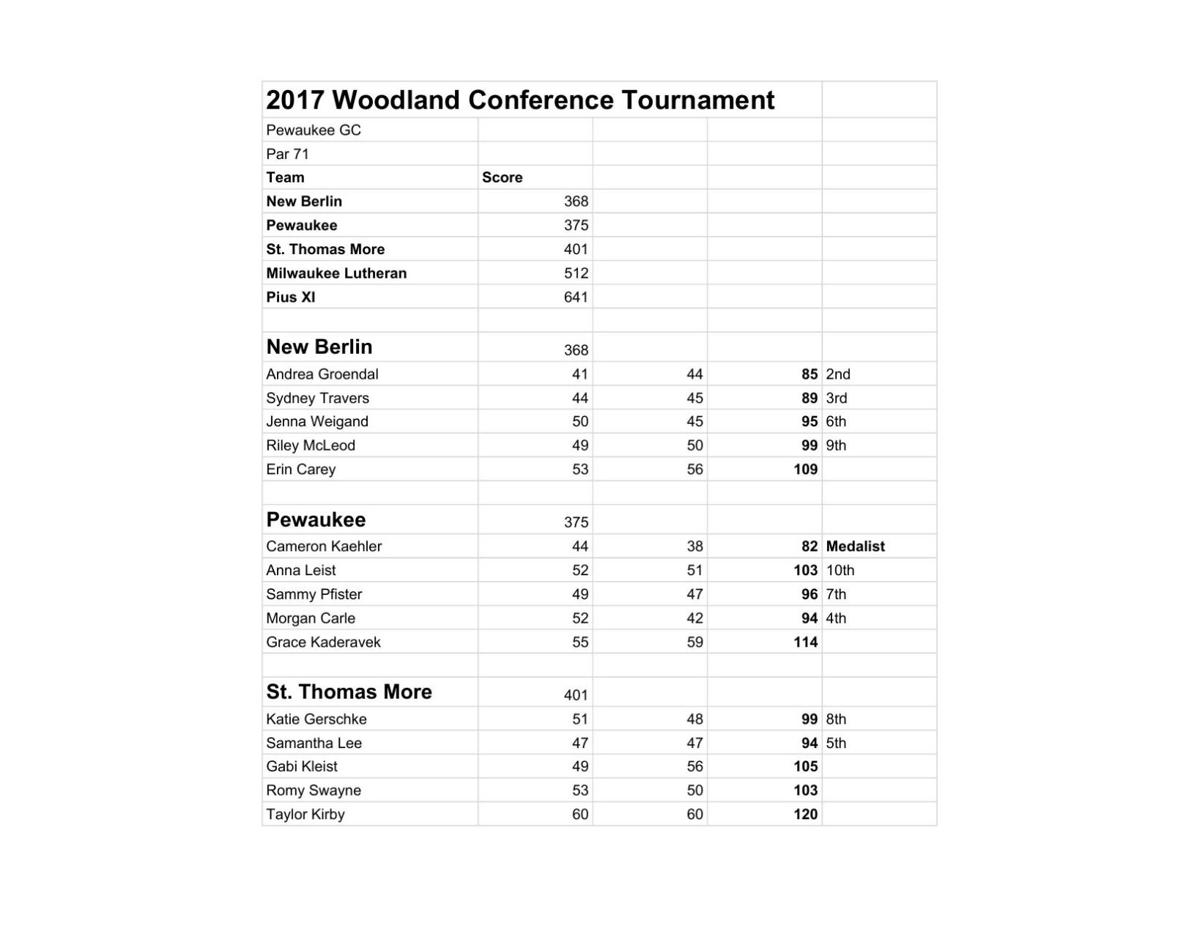 Sept. 21: 2017 Woodland Conference Tournament (Pewaukee GC)