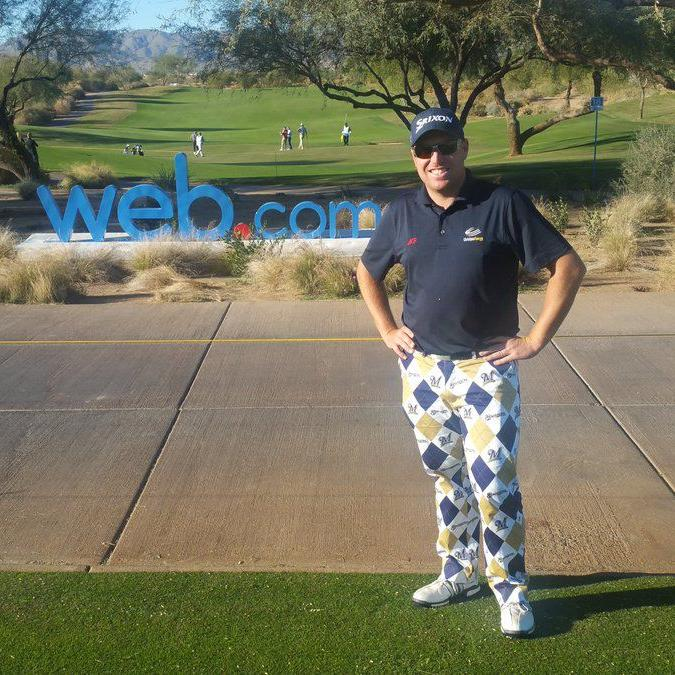 Decked out in Brewers-themed Loudmouth pants, former Marquette golfer Mike Van Sickle goes deep at Web.com Q-School